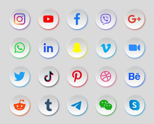 Social media iconen in ronde moderne knoppen