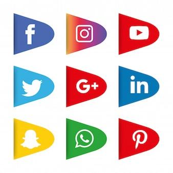 Social media iconen instellen. logo