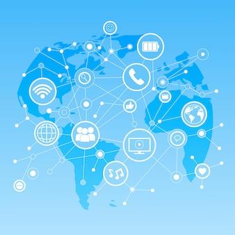 Social media icons over world map background netwerk communicatie verbindingsconcept