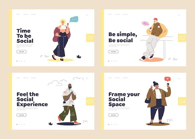 Social media in smartphones set bestemmingspagina's met cartoons messaging en surfen op het web