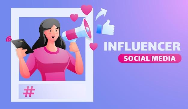 Social media influencers illustratie met vrouw met megafoon sociale media-promotie