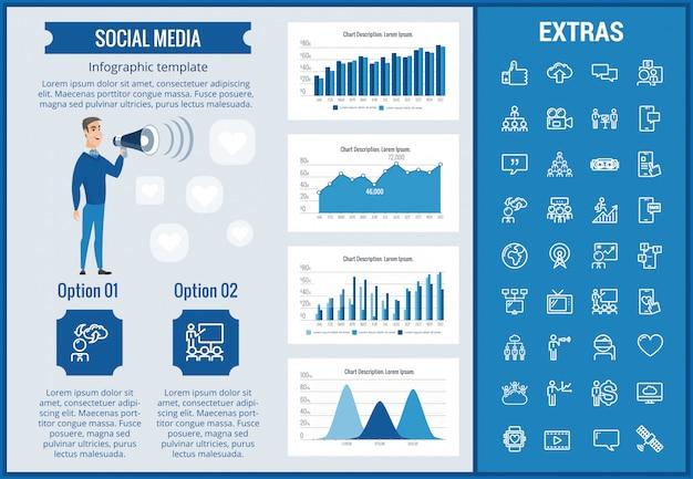 Social media infographic sjabloon, elementen, pictogrammen