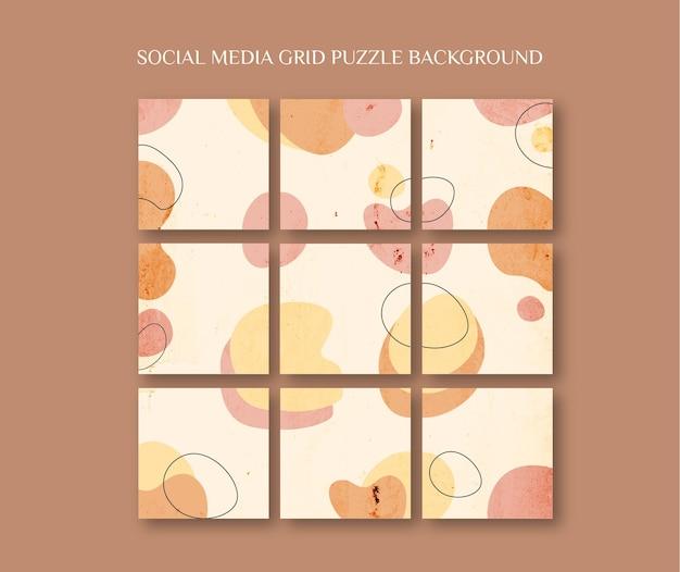 Social media instagram feed postsjabloon in rasterpuzzelstijl met organische vormverfachtergrond