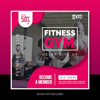 Social media instagram post of square banner design fitness gym