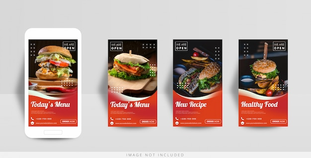 Social media instagram-verhaal voedselverkoopsjabloon