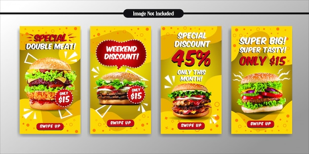 Social media instagram verhalen fastfood restaurant sjabloon