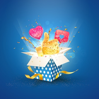 Social media invloed. blauwe doos met soortgelijke vector iconen 3d vector illustratie.