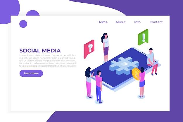 Social media isometrisch concept met karakters.
