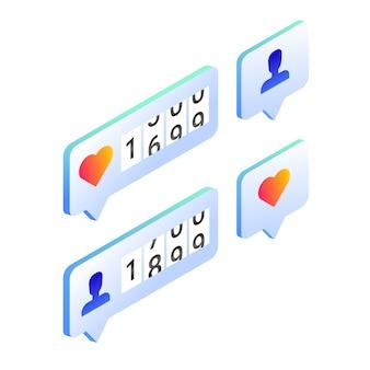 Social media likes en volgers tellers, isometrische pictogrammen.
