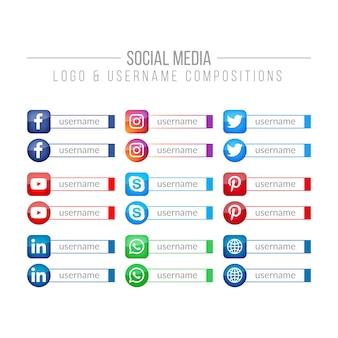 Social media-logo en gebruikersnaamcomposities