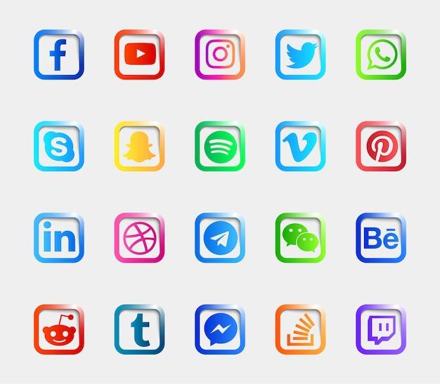 Social media logo glanzende knoppen pictogrammen instellen collectie