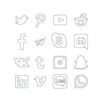 Social media logo pictogrammen