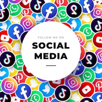 Social media logo's achtergrond sjabloon