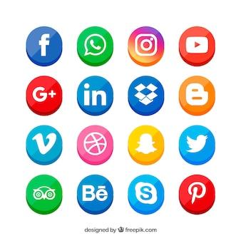 Social media logo's collectie in vlakke stijl