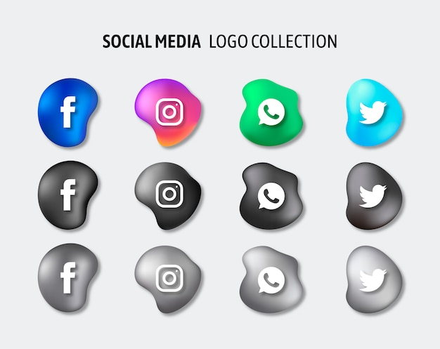 Social media logo's pack vector