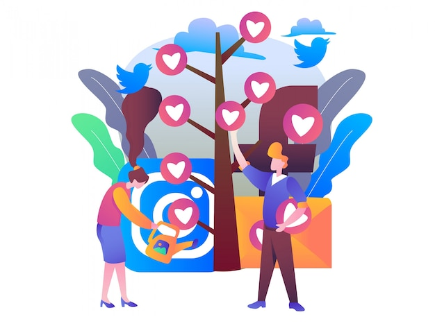 Social media management illustratie