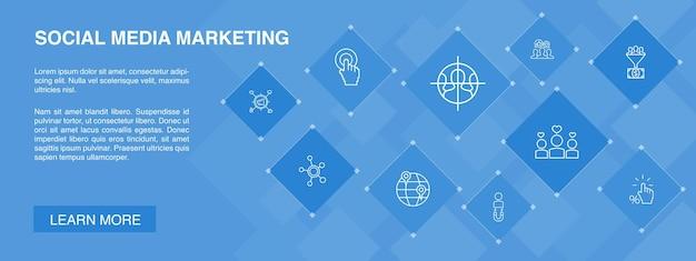 Social media marketing banner pictogrammen concept gebruikersbetrokkenheid oproep tot actie lead conversie pictogrammen