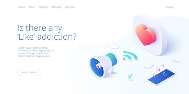 Social media marketing bedrijfsillustratie in isometrisch ontwerp.