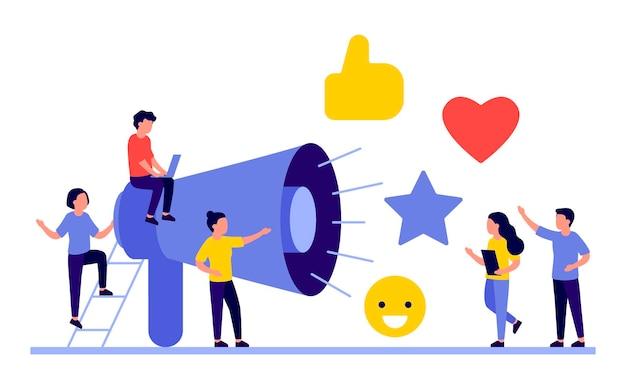 Social media marketing concept met mensen karakters