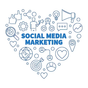 Social media marketing hart blauwe lineaire illustratie