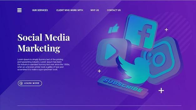 Social media marketing illustratie met lichte achtergrond voor ui ux-ontwerp