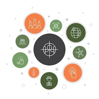 Social media marketing infographic 10 stappen bellenontwerp. gebruikersbetrokkenheid, volgers, call-to-action, eenvoudige pictogrammen voor leadconversie