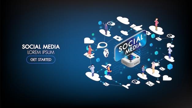 Social media marketing isometrische bestemmingspagina met karakter. reclame info concept