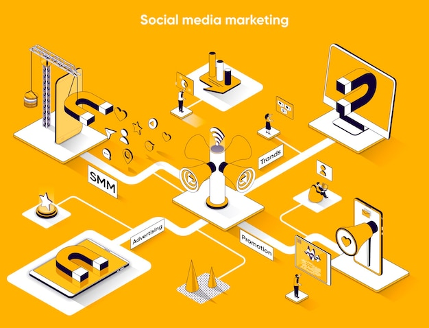 Social media marketing isometrische webbanner platte isometrie