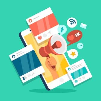 Social media marketing mobiele telefoon concept Premium Vector