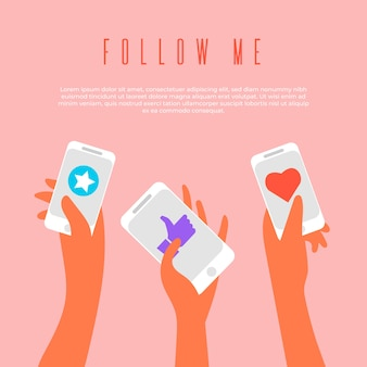 Social media marketing mobiele telefoon concept