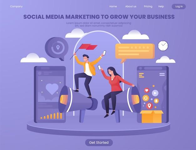 Social media marketing om uw zakelijke platte illustratieconcept te laten groeien