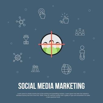 Social media marketing trendy ui plat concept met eenvoudige lijnpictogrammen. bevat elementen als gebruikersbetrokkenheid, volgers, call-to-action, leadconversie en meer