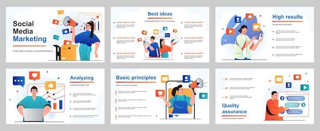 Social media marketingconcept voor presentatiediasjabloon mensen promoten online zaken