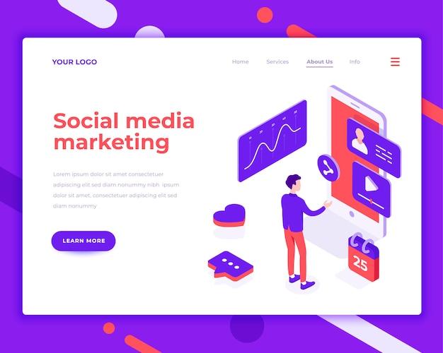 Social media marketingmensen en interactie met grafieken