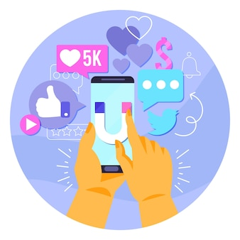 Social media marketingontwerp op mobiel