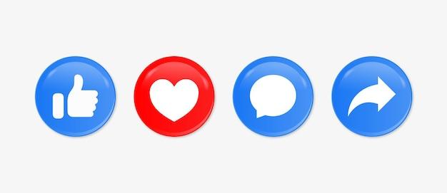 Social media meldingspictogrammen like love comment share-knoppen in moderne stijl