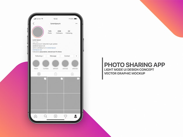 Social media mockup ui ux-sjabloonlay-out