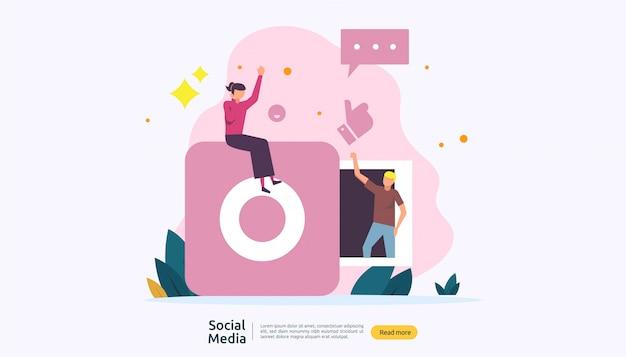 Social media netwerk en influencer concept met jongeren karakter in vlakke stijl