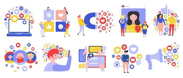 Social media netwerk groepen communicatie symbolen
