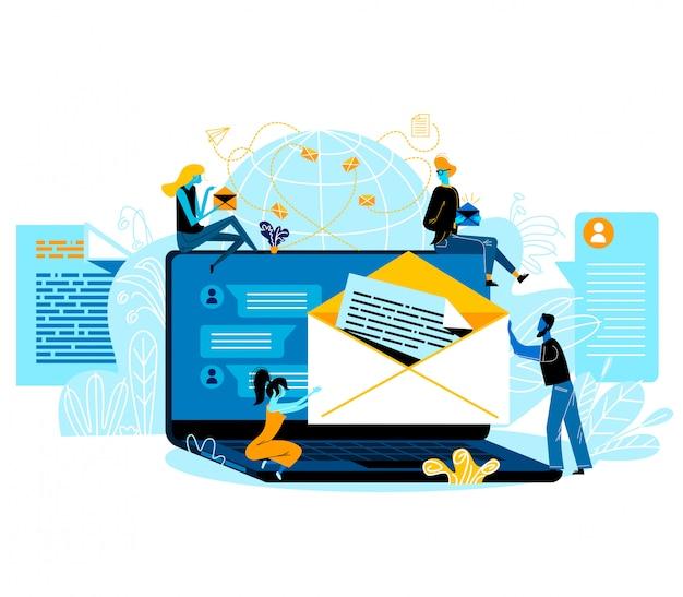 Social media-netwerken, e-mailberichten, internetcommunicatie. mensen met papieren enveloppen zitten rond van enorme laptop met correspondentiepagina op scherm, sms
