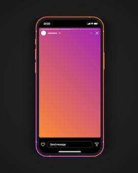 Social media netwerkverhalen levendige achtergrond met kleurovergang op smartphonescherm