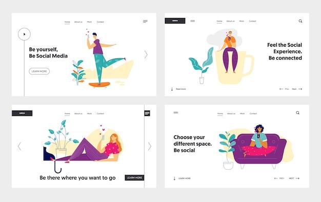 Social media network concept landing page template set