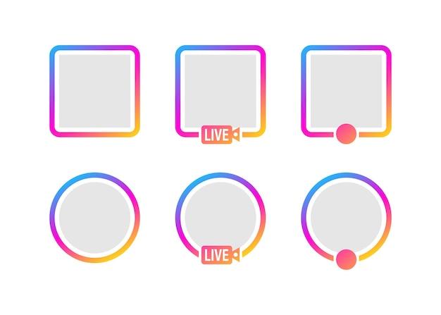 Social media pictogram avatar frame. live verhalen gebruiker videostreaming. vector illustratie.
