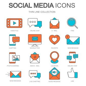 Social media-pictogrammen voor websites en mobiele toepassingen