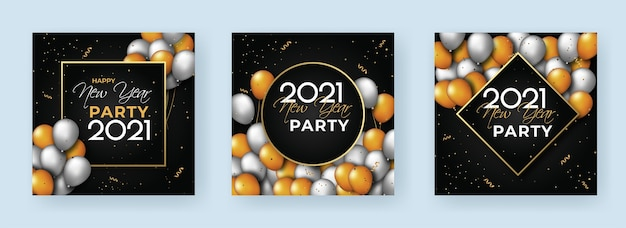 Social media plaatsen met kleurrijke ballonnen voor nieuwjaarsconcept