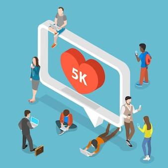 Social media plat isometrisch concept.