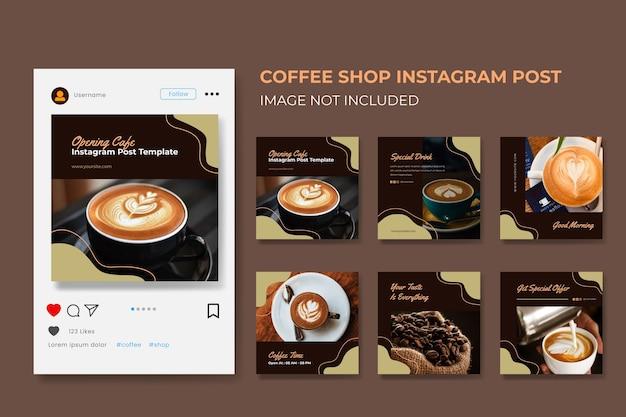 Social media post collectie sjabloon voor coffeeshop