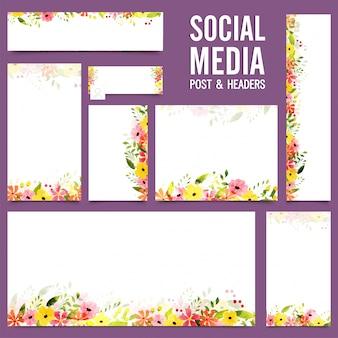 Social media post en headers met kleurrijke bloemen.