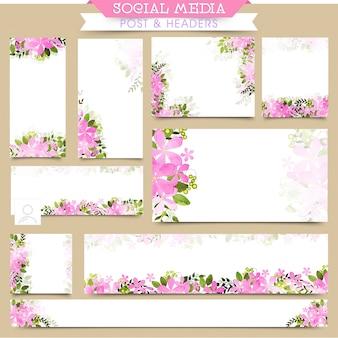 Social media post en headers met roze bloemen.