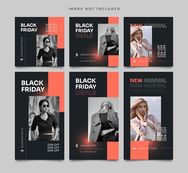 Social media post en verhalen black friday bannersjabloon